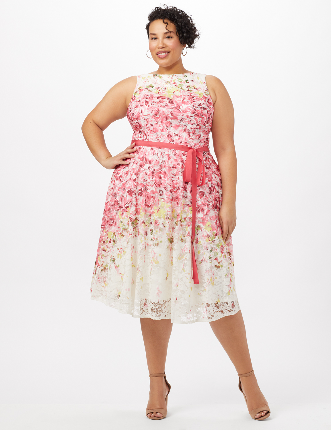 Printed Lace Dress with Grosgrain Ribbon Belt - Ivory/Raspberry - Front