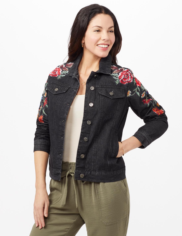 Long Sleeve Embroidered Denim Jacket - Black Denim - Front