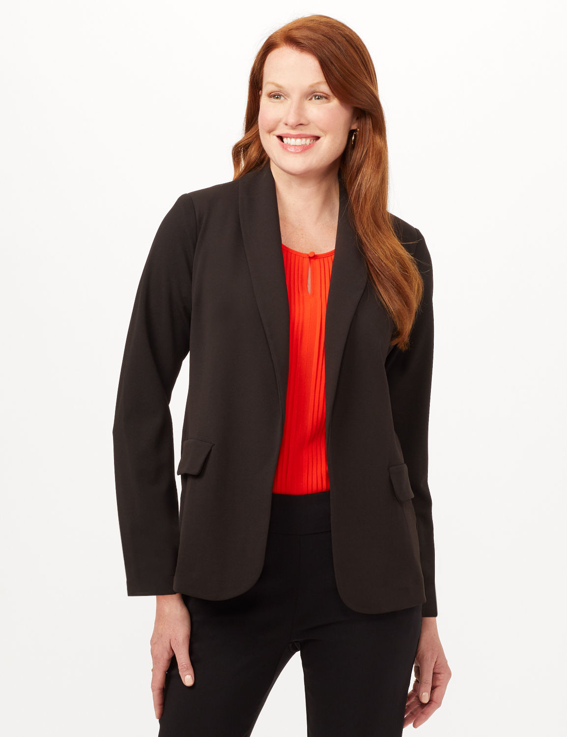 Shawl Collar Open Front Jacket -Black - Front