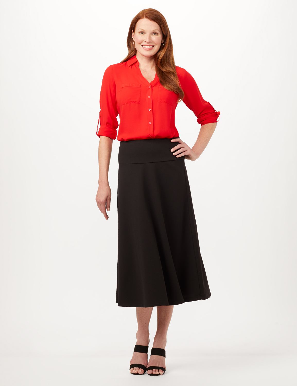Wide Yoke A-Line Pull-On Skirt - Black - Front