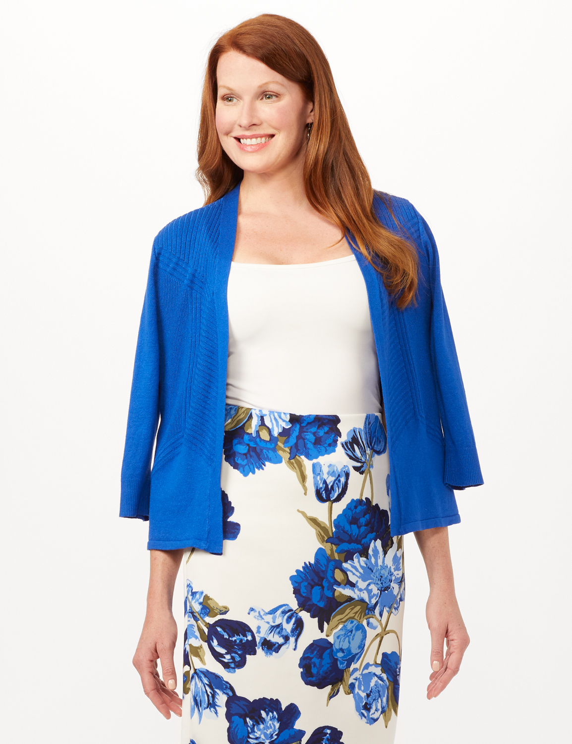 Pull-On Floral Print Slim Skirt -White/Blue - Front
