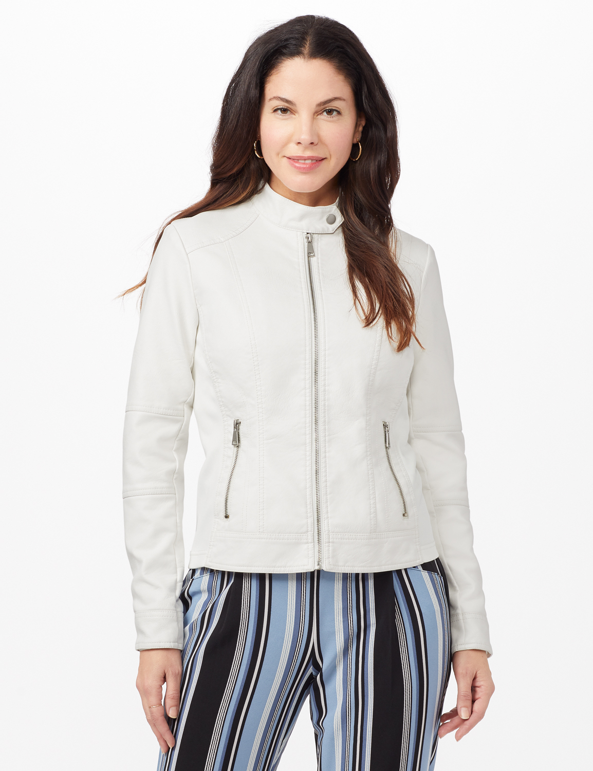 Faux Leather Zip Front Jacket -White - Front