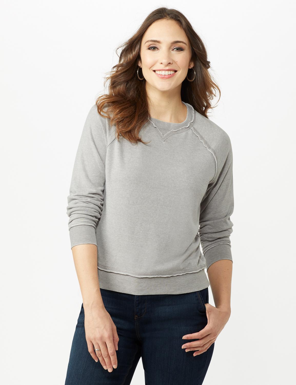 Mineral Wash Raw Edge Sweatshirt - Alloy Grey - Front