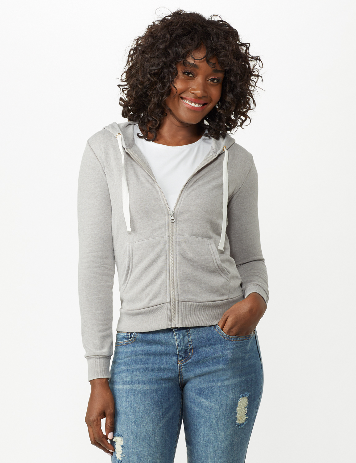 Mineral Wash Zip Hoodie - Alloy Grey - Front