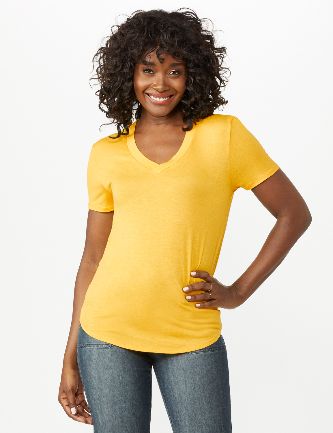 V-Neck Shirttail Tee -Gold - Front