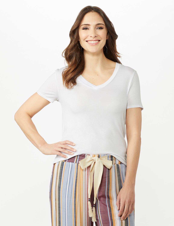 V-Neck Shirttail Tee -White - Front
