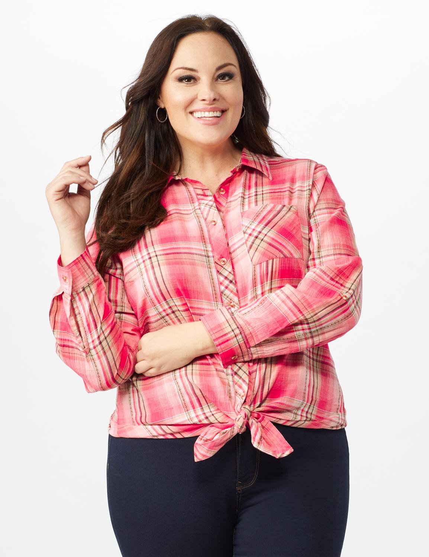 Roll Tab Plaid Shirt - Plus - Pink - Front