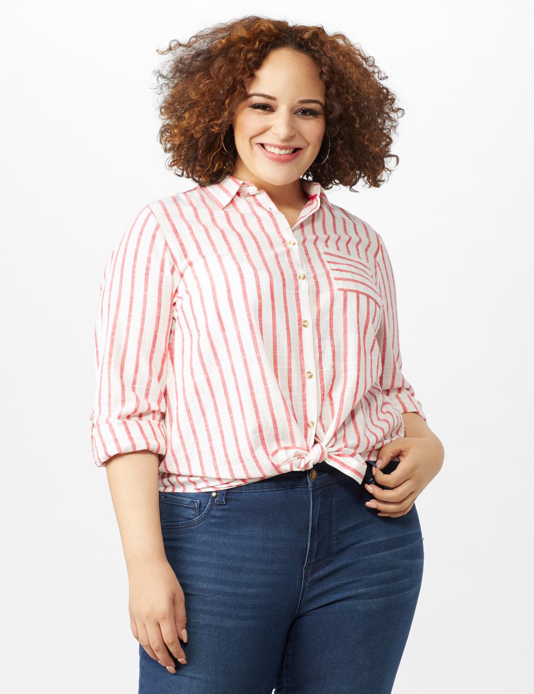 Roll Tab Lurex Stripe Shirt - Plus - Red - Front