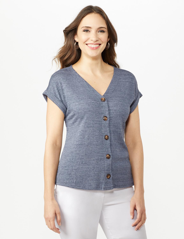 Button Front Texture Knit Top - Denim Blue - Front