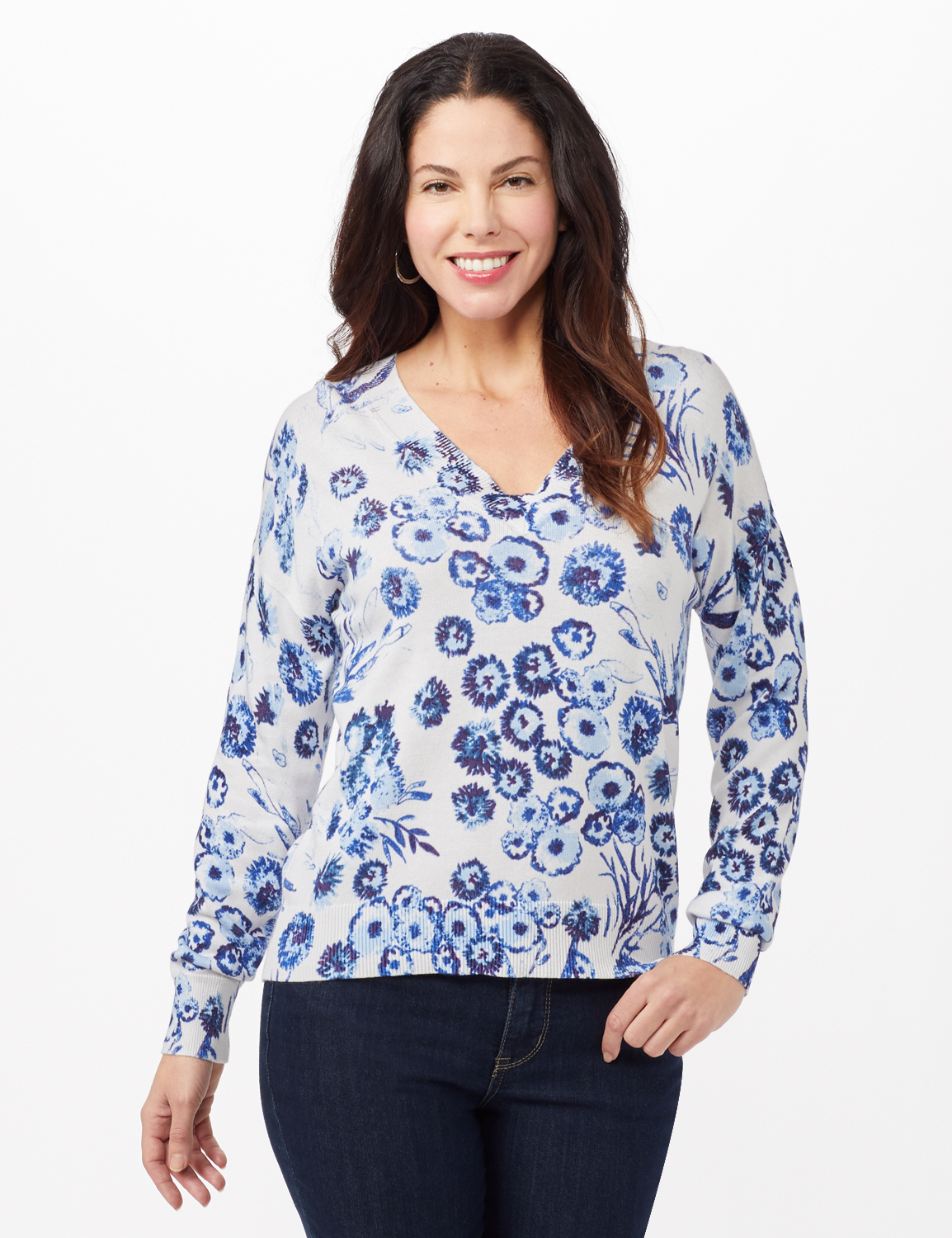 V-Neck Floral Pullover Sweater -Blue - Front