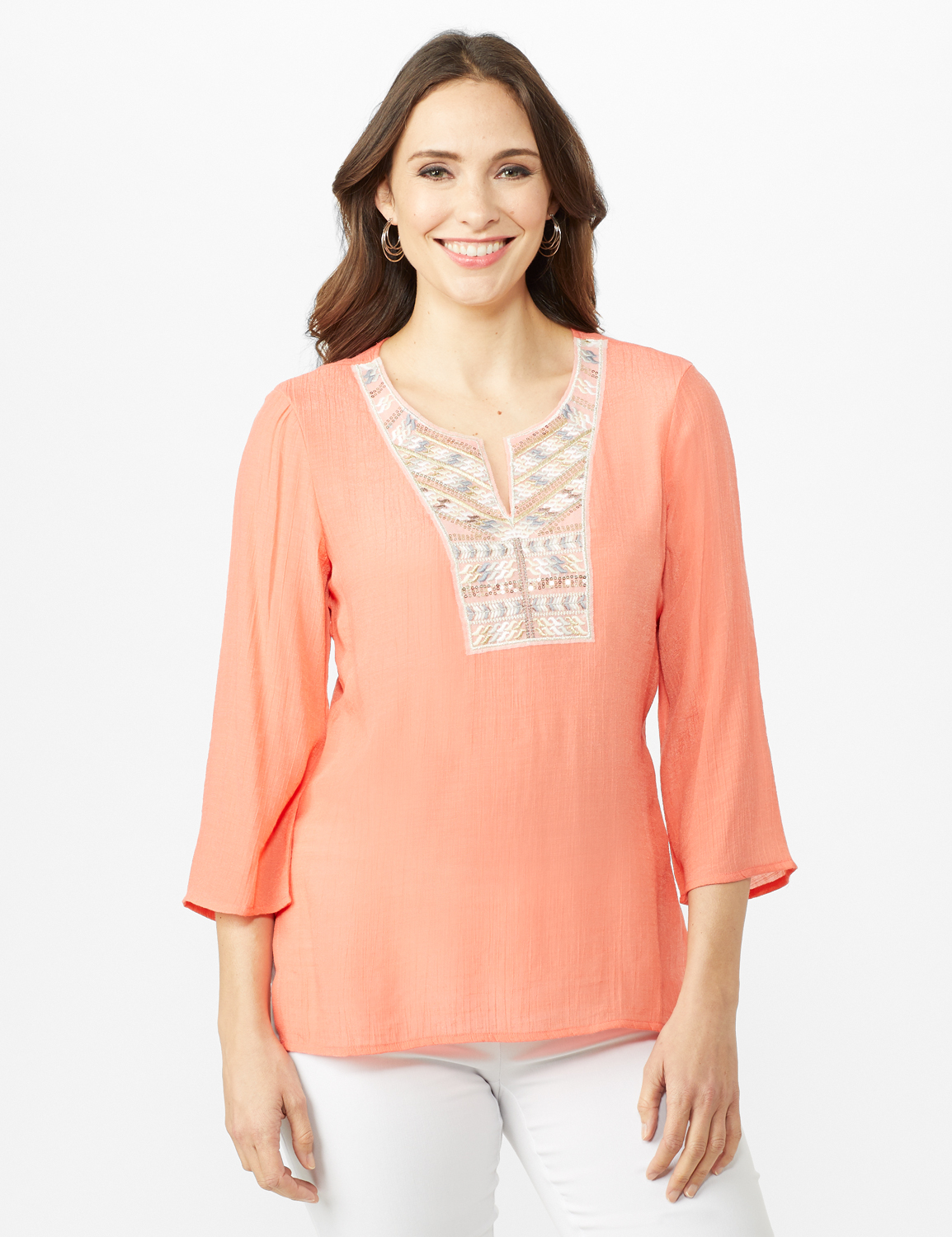 Textured Tunic Embroidered Blouse - Coral - Front