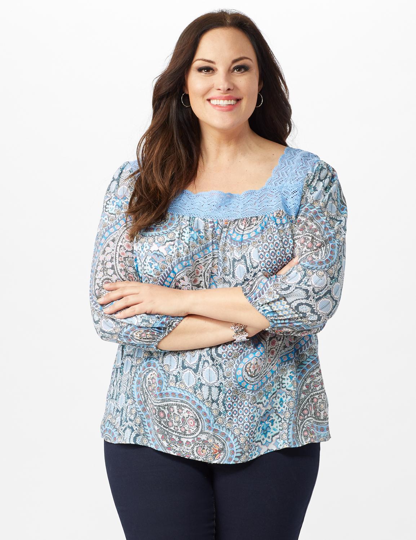 Crochet Trim Square Neck Floral Top - Blue - Front