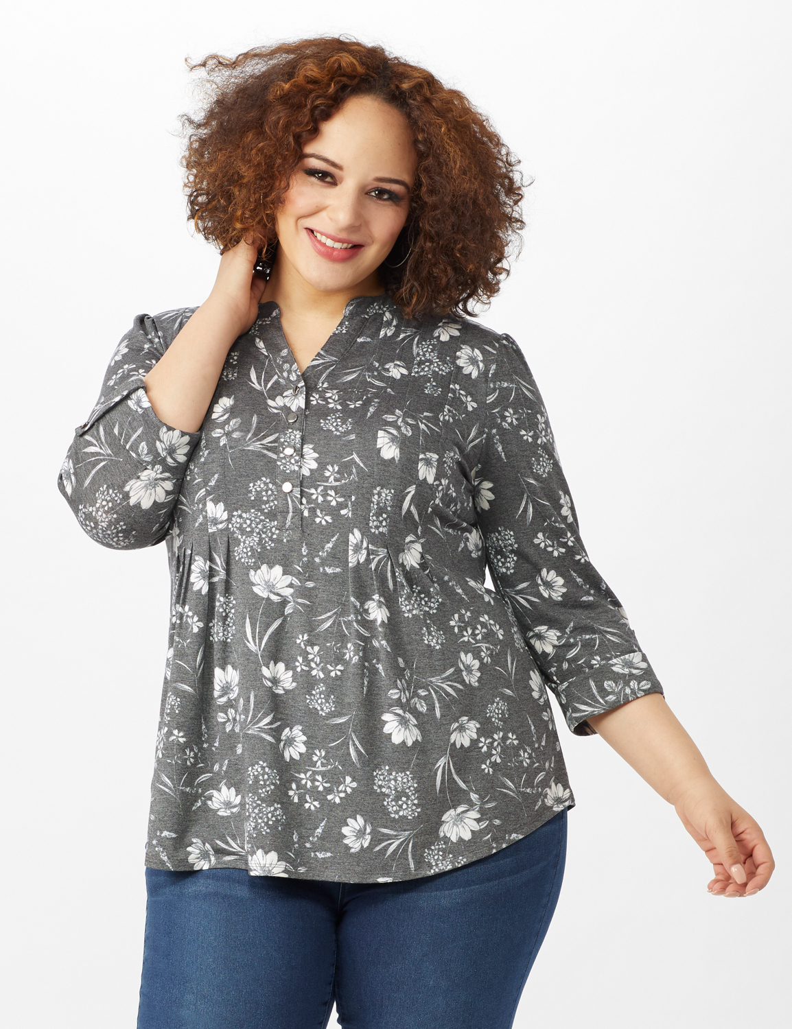 Floral Pintuck Popover -Grey - Front