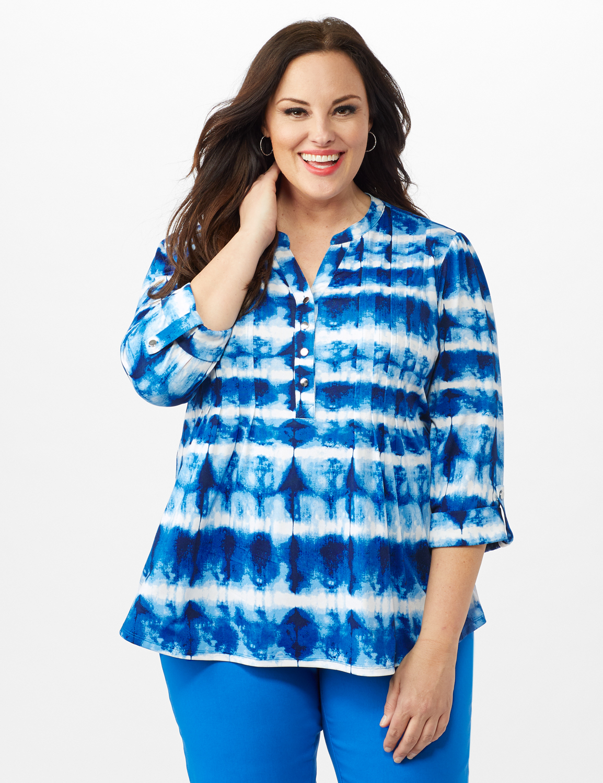 Tie Dye Stripe Pintuck Popover - Plus - Blue - Front