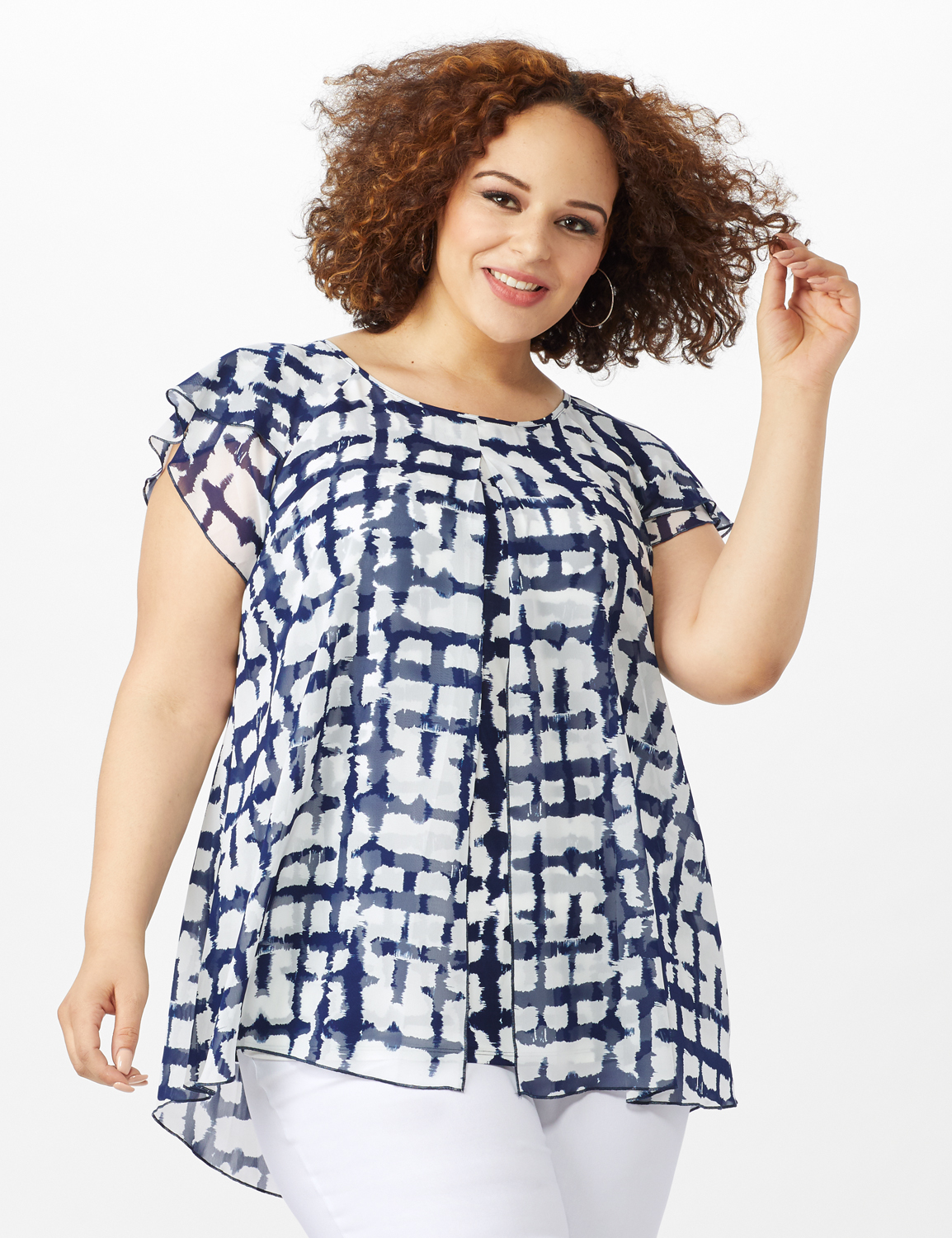 Plaid Flyaway Top - Plus -Navy/White - Front