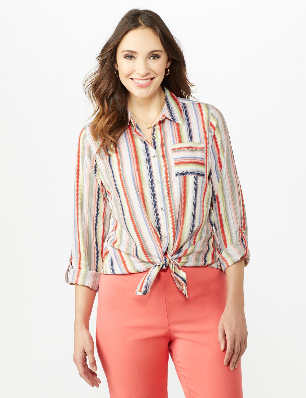 Multi Stripe Roll Tab Shirt - Misses -Multi - Front