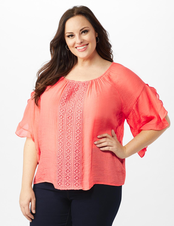 Crochet Trim  Off The Shoulder Textured Top - Rose - Front