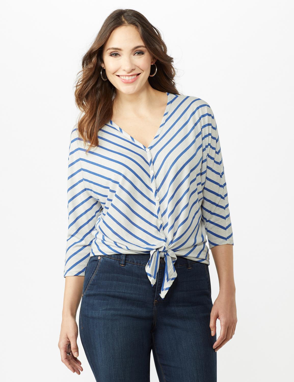 Stripe Tie Front Knit Top -Oatmeal/Blue Ocean - Front