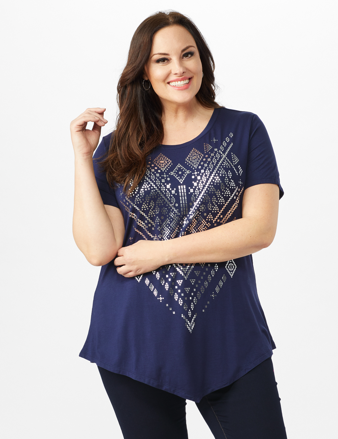 V Front  Knit Screen Tunic - Plus -Navy - Front