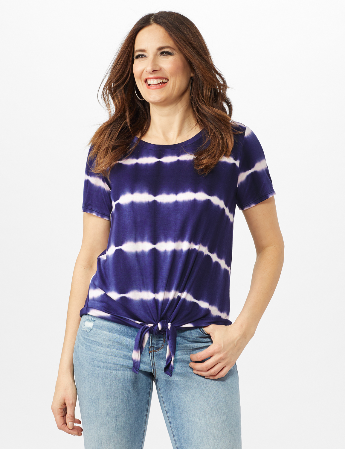 Stripe Tie Front Knit Top -Navy - Front