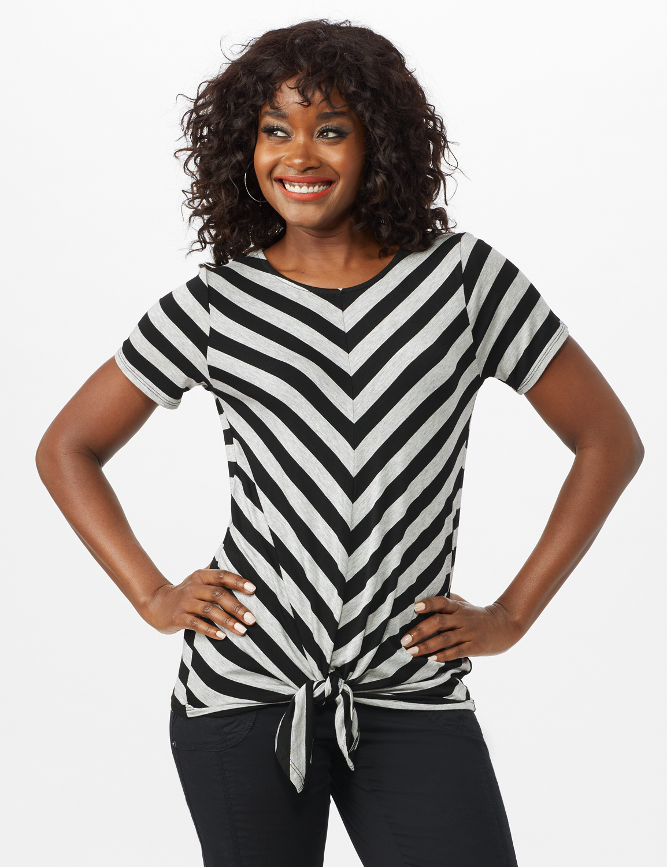 Mitered Stripe Tie Front Knit Top - Misses -Grey/Black - Front