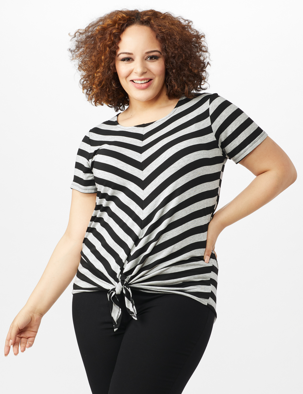 Mitered Stripe Tie Front Knit Top - Plus -Grey/Black - Front