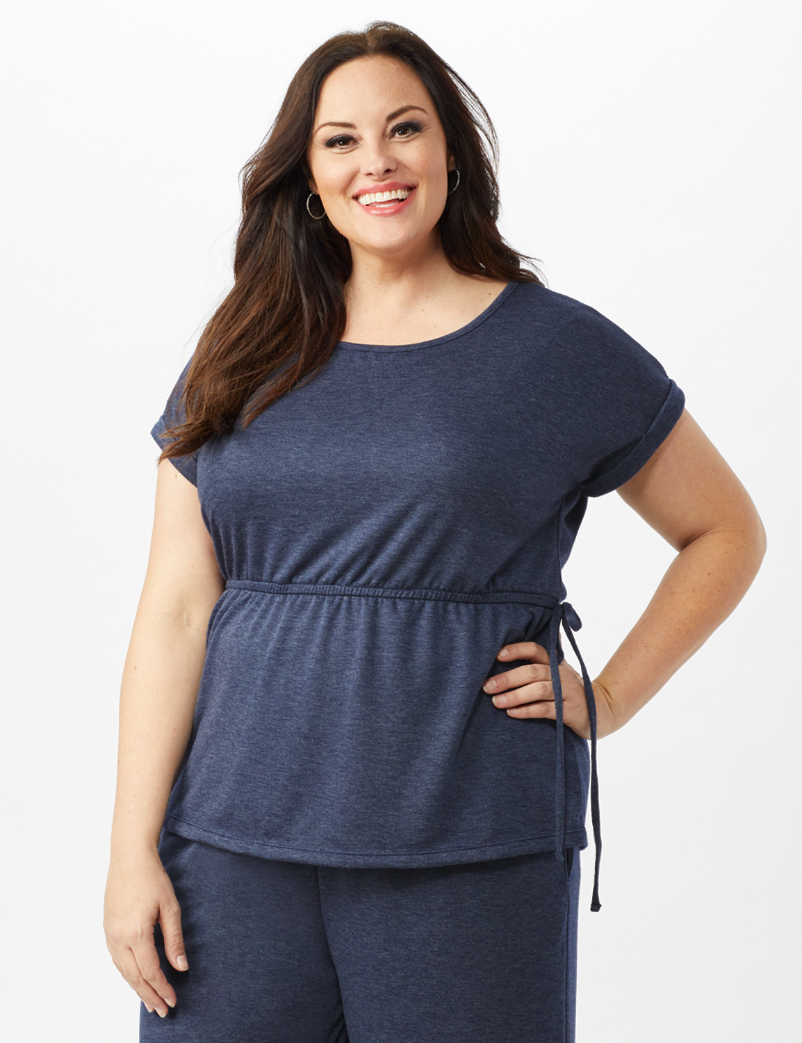 Cinch Waist Heathered Knit Top - Plus -Blue - Front
