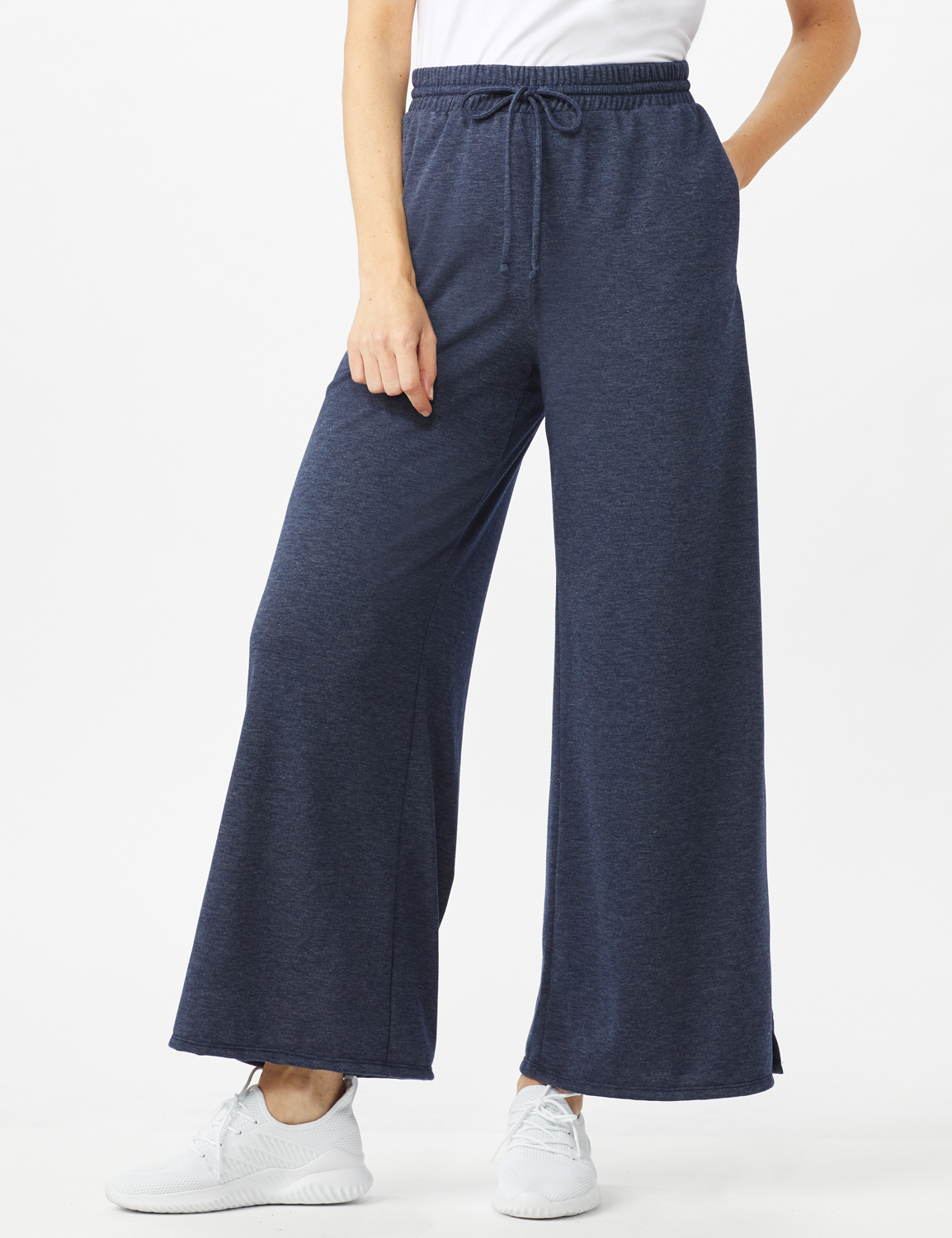 Drawstring Heathered Navy Knit Pant - Misses - Blue - Front