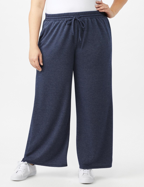 Drawstring Heathered Navy Knit Pant - Plus - Blue - Front