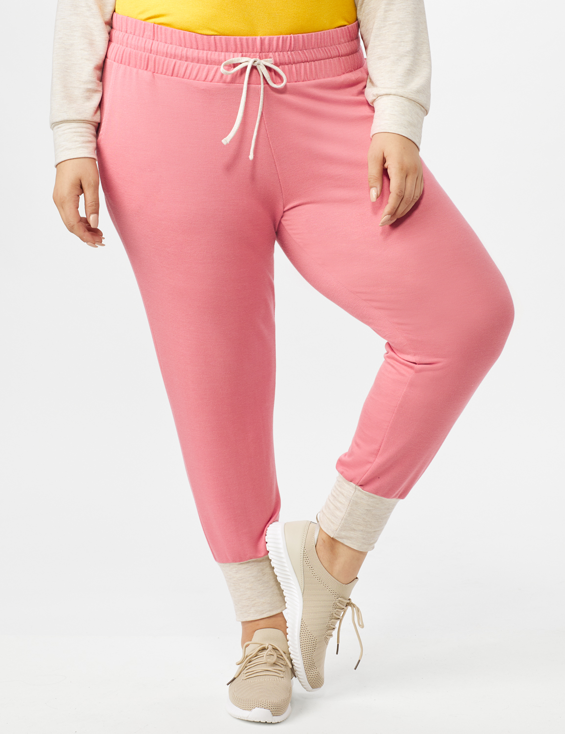 Drawstring Knit Pant with Pockets - Plus - Coral - Front