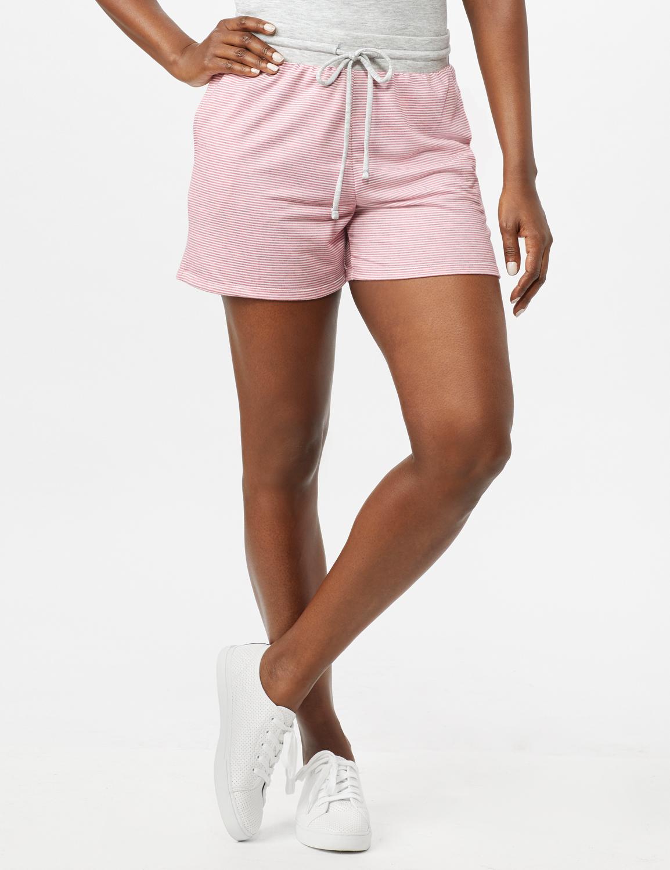 Stripe Drawstring Knit Shorts - Pink - Front