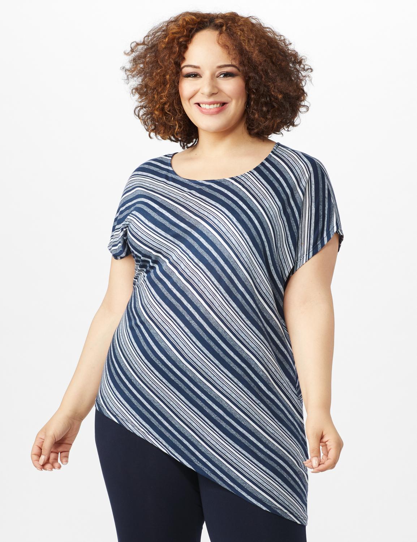 Asymmetrical Striped Knit Tunic -Blue - Front