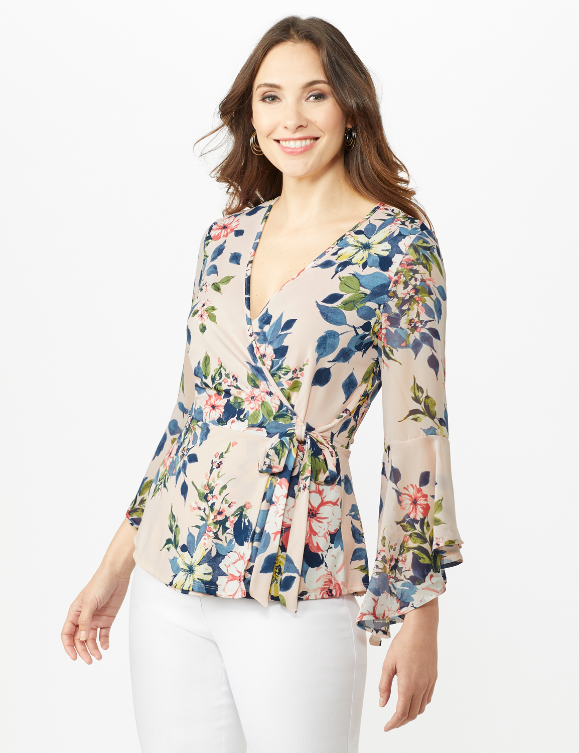 Wrap Knit Top - Pink - Front