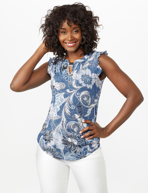 Puff Print Flutter Sleeve Knit Top - Blue - Front