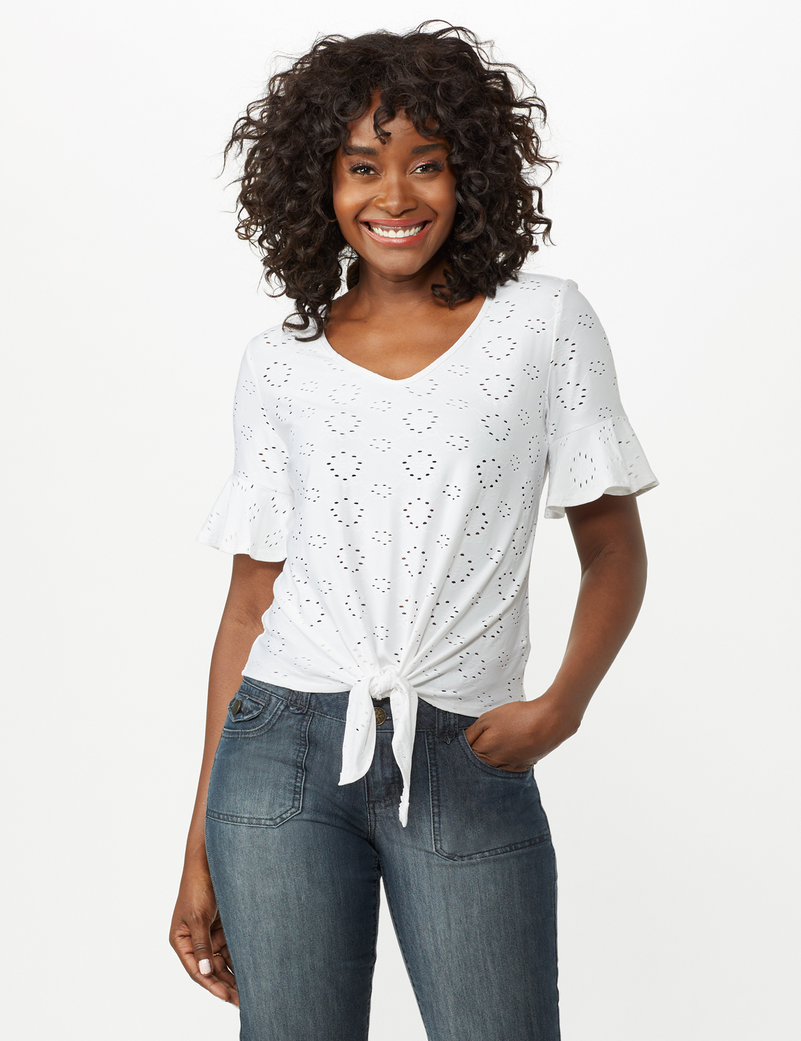 Eyelet Flounce Sleeve Tie Front - White - Front