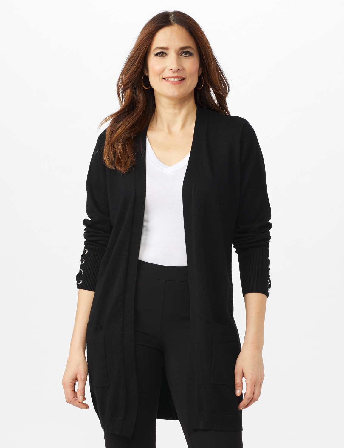 Grommet Lace-Up Trim Open Cardigan - Black - Front