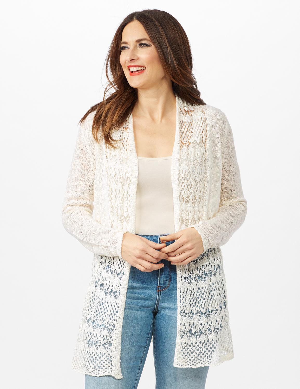 Textured Cardigan with Crochet Detail - Ecru - Front