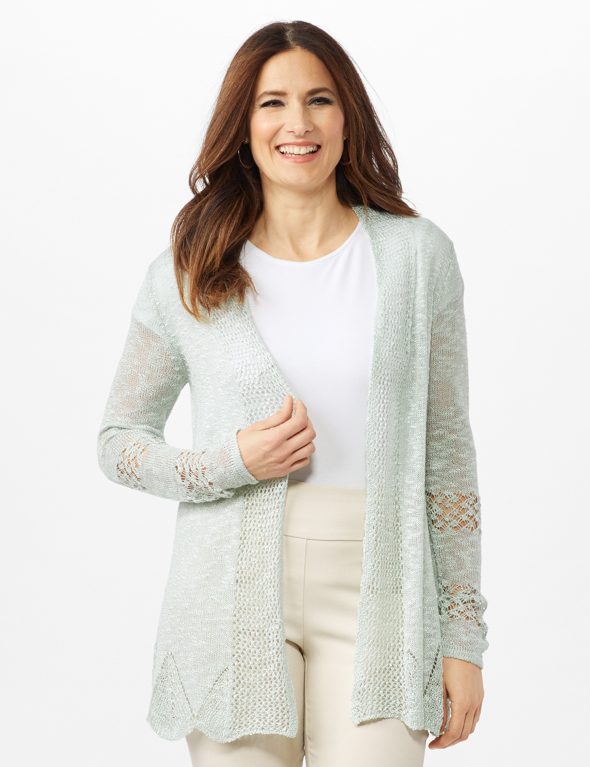 Scallop Trim Textured Cardigan -Frost - Front