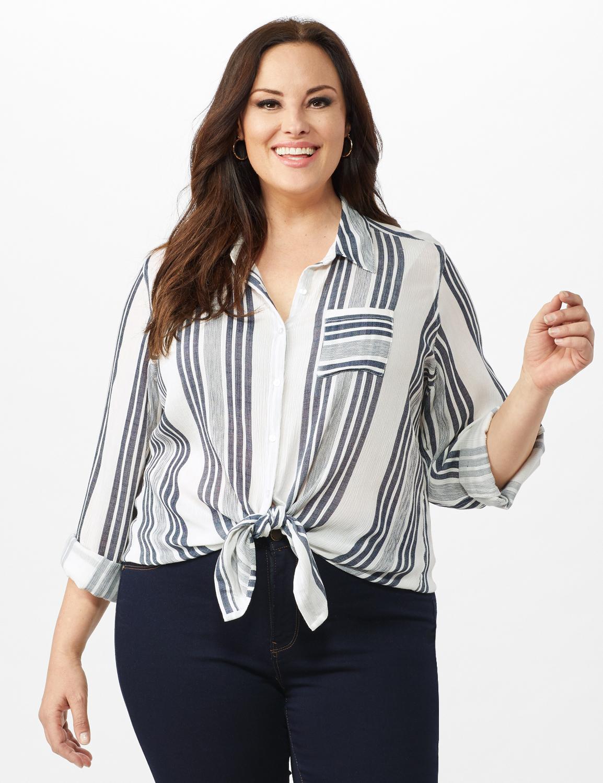 Verigated Stripe Roll Tab Shirt - Plus - Denim Blue - Front