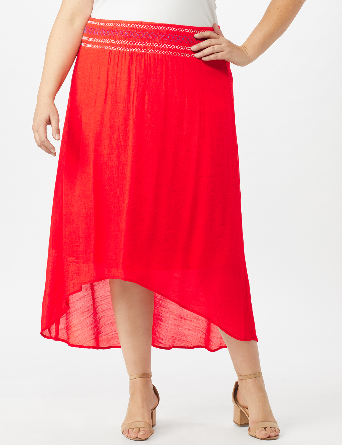 Textured Pull on Hi Lo Hem Skirt -Coralicious - Front
