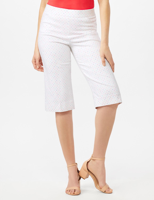 Multi Dot Printed Pull On Skimmer Pants - White/Multi Dot - Front