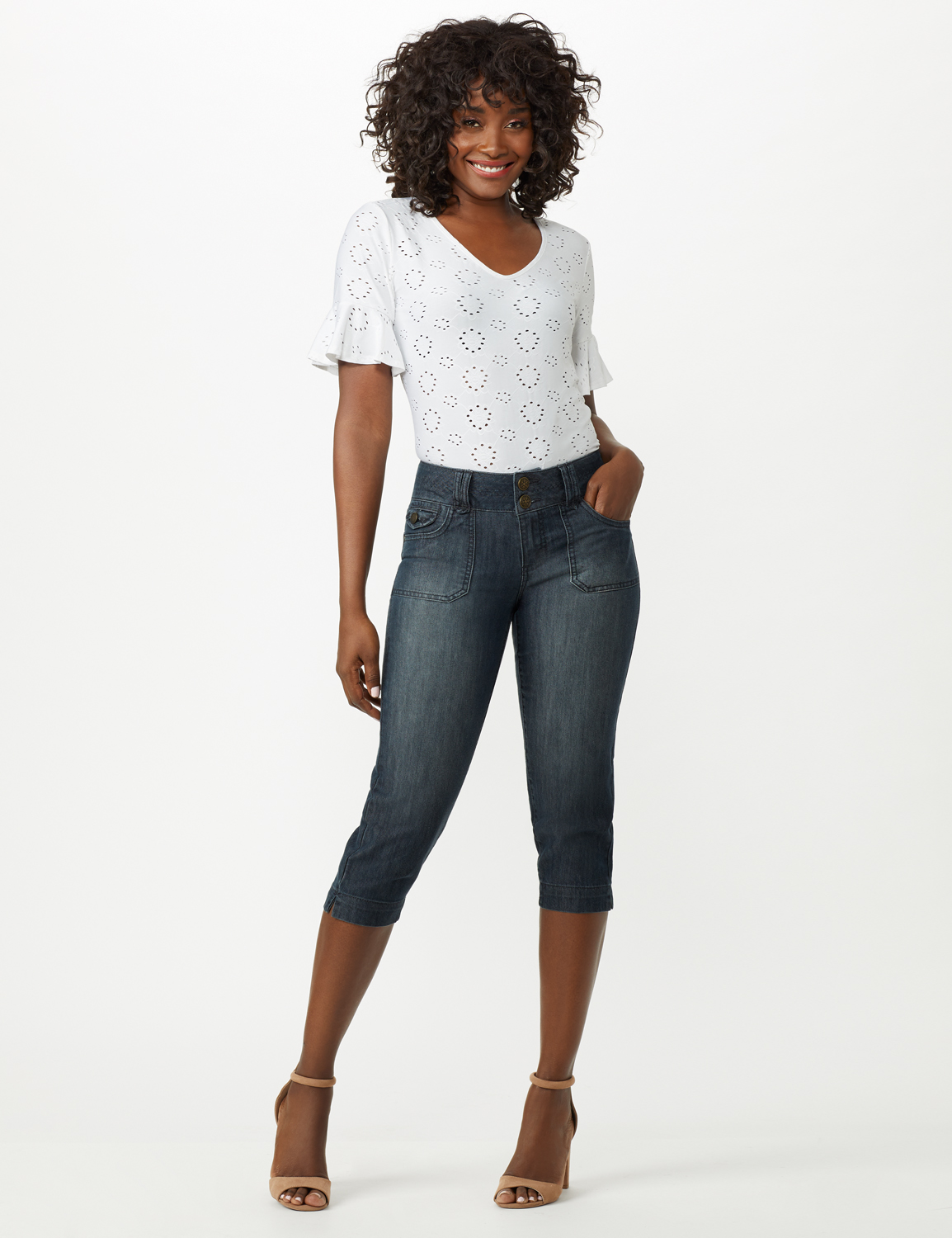 2 Button Capri With Front Pocket and Back Flap Pkts - Riviera Blue Wash - Front