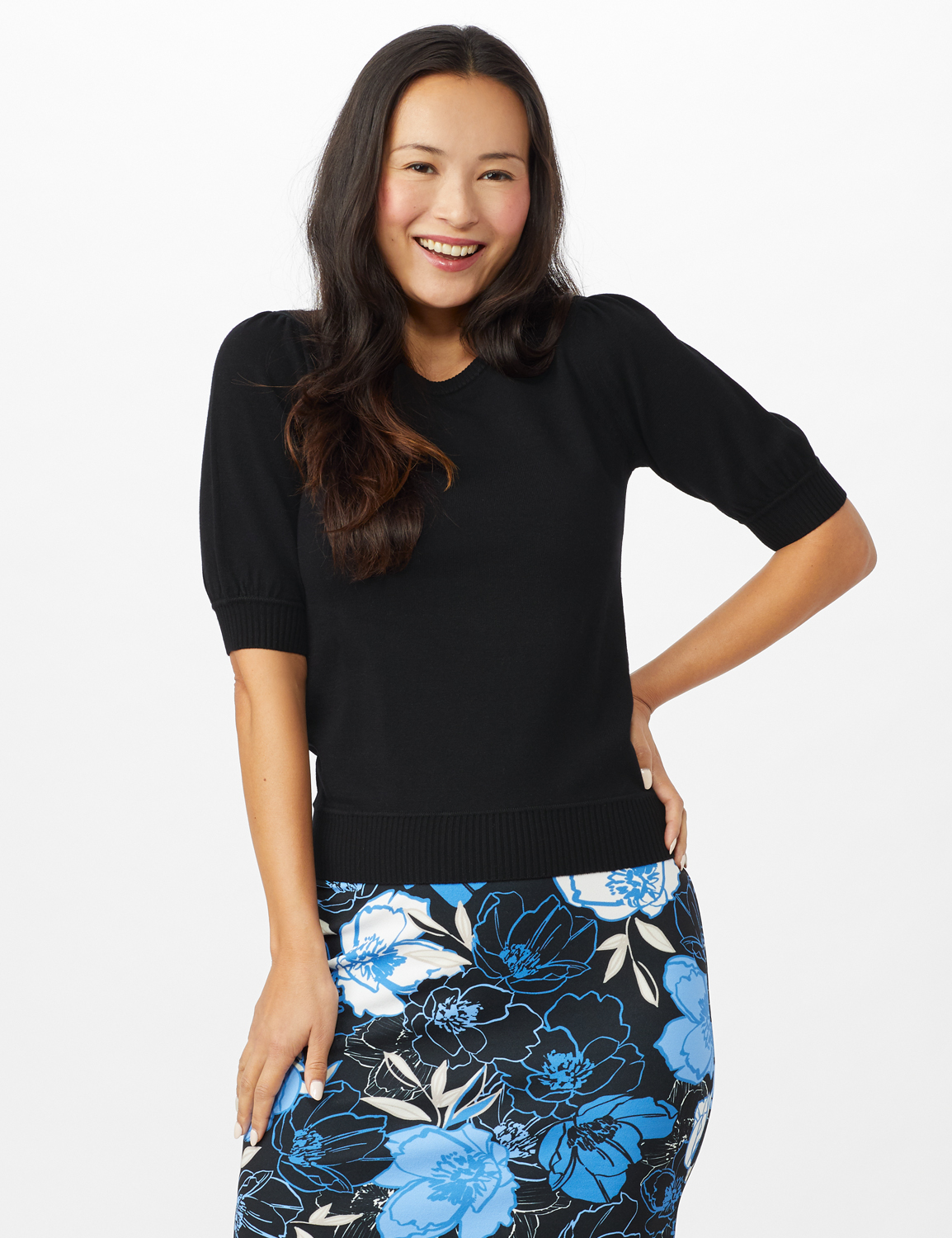 Puff Sleeve Sweater -Black - Front
