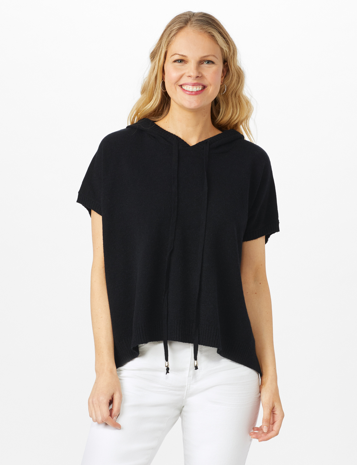 Hoodie Sweater Poncho -Black - Front