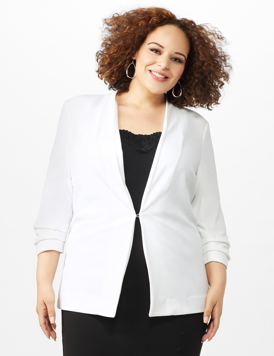 Open Front Collarless Cardigan With Ruched Sleeve - Plus - Sugar Swizzle - Front