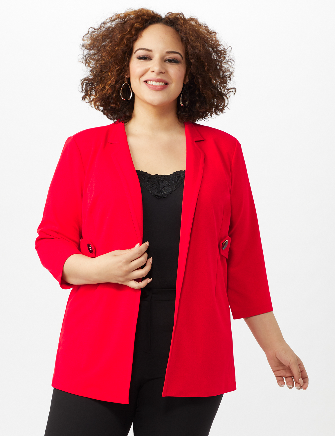 Collar - Less Notched Topper With Buttons Side Tabs -Infared - Front