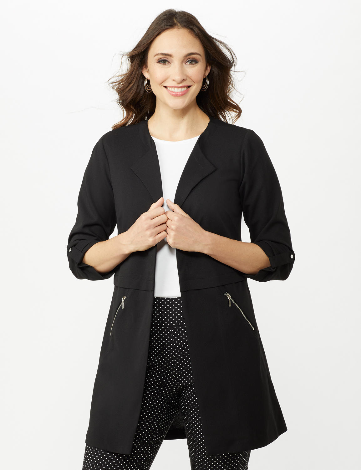Open Front Cardigan Jacket with Zip Pkts and Roll Sleeve -Black - Front