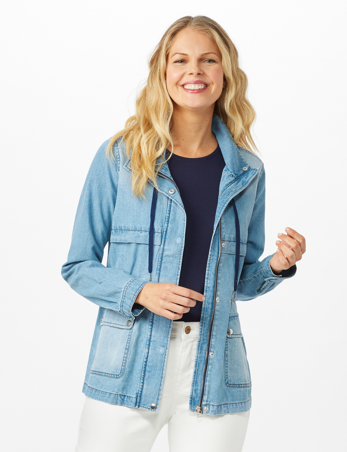 Denim Utility Jacket With Flap Pockets and Hidden Waist Drawcord -Ocean Wash - Front