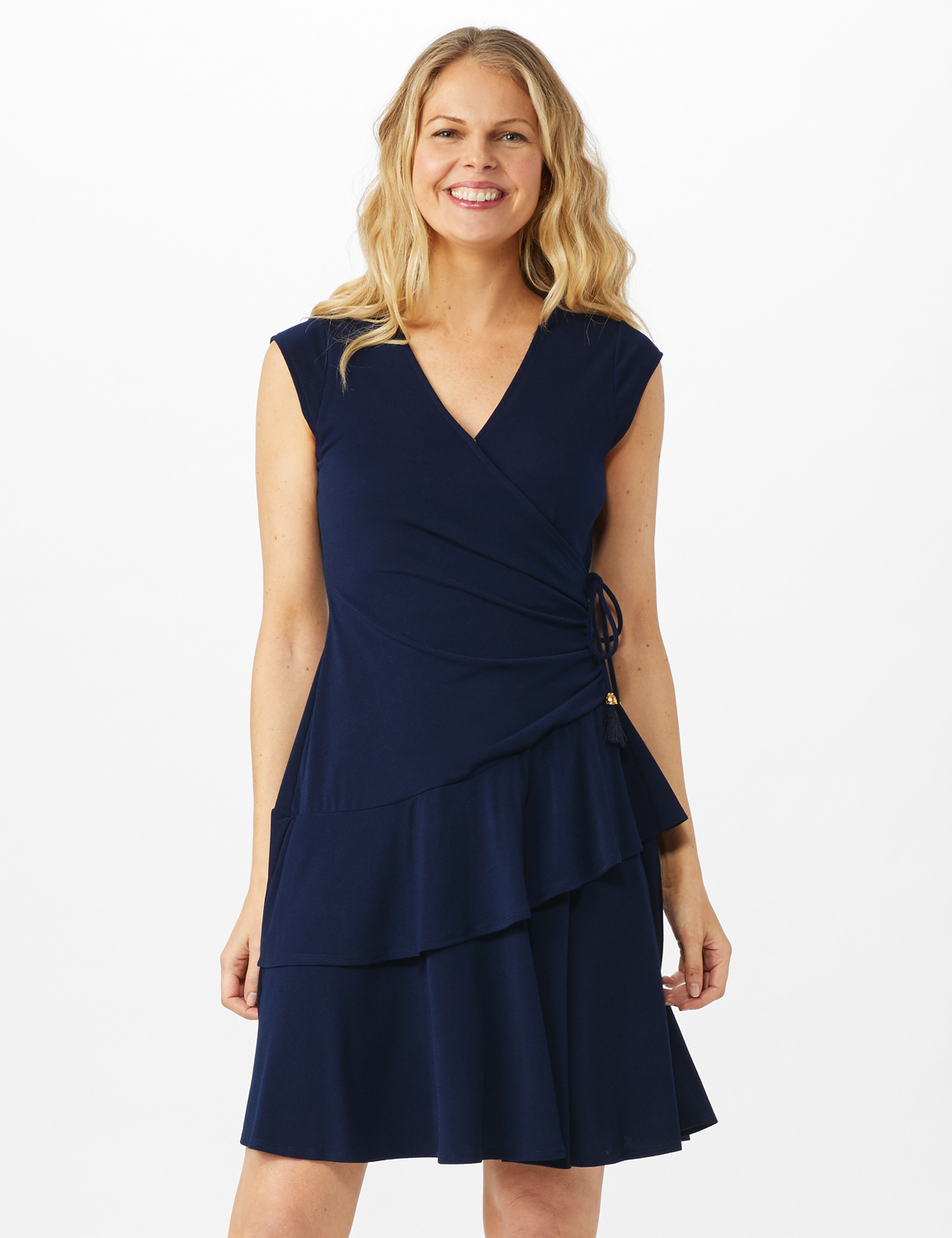 Faux Wrap with Side Tie Crepe Knit with Tiered Skirt - Navy - Front
