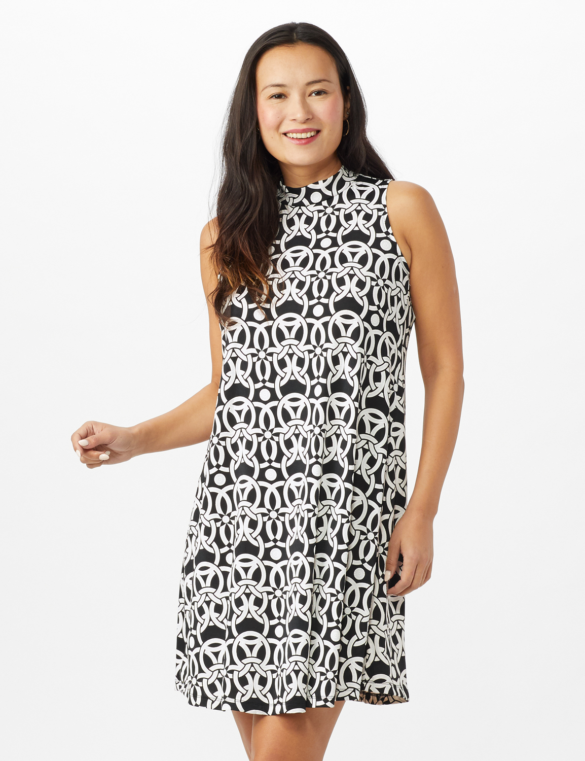 Mock Neck Linking Circles Print Puff ITY Dress - Black - Front